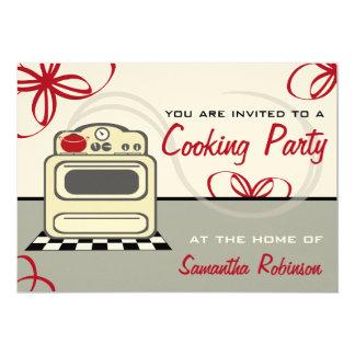 Cocinando el fiesta - cocina retra del rojo de la invitación 12,7 x 17,8 cm