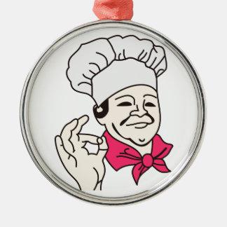 Cocinero Adorno Redondo Plateado