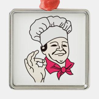 Cocinero Adorno Cuadrado Plateado