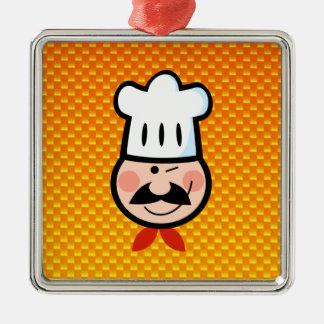 Cocinero amarillo-naranja adorno cuadrado plateado