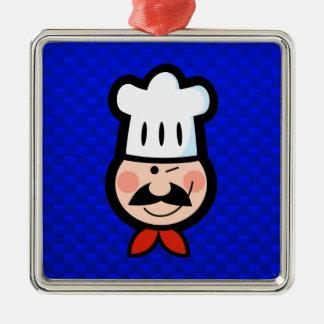 Cocinero; Azul Adorno Cuadrado Plateado