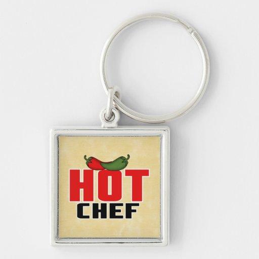 Cocinero caliente (pimientas rojas y verdes) llavero personalizado