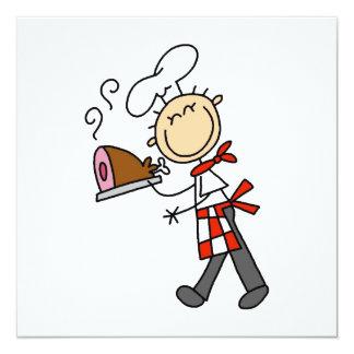 Cocinero con el jamón cocido invitación 13,3 cm x 13,3cm