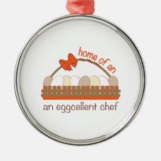 Cocinero de Eggcellent Adorno Redondo Plateado