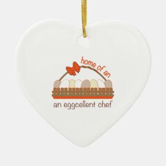 Cocinero de Eggcellent Adorno De Cerámica En Forma De Corazón