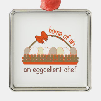 Cocinero de Eggcellent Adorno Cuadrado Plateado
