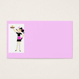 Cocinero de sexo femenino con la torta tarjeta de negocios