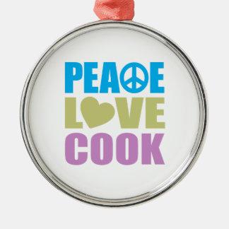 Cocinero del amor de la paz adorno redondo plateado