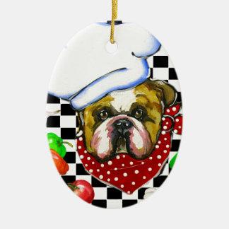 Cocinero del dogo adorno ovalado de cerámica