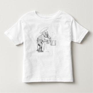Cocinero del elefante que cocina la camisa del