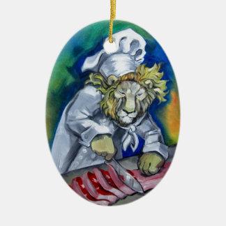 Cocinero del león adorno ovalado de cerámica