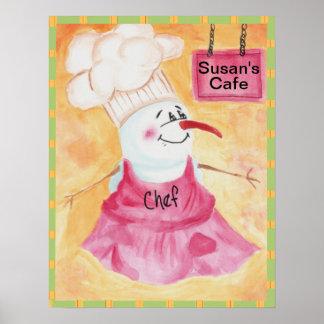 Cocinero del muñeco de nieve en poster del gorra d