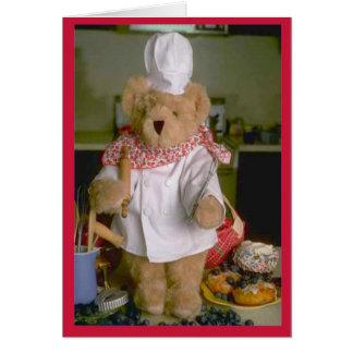 Cocinero del oso de peluche tarjeta de felicitación