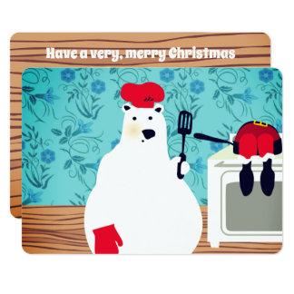 cocinero del oso polar que cocina la tarjeta de