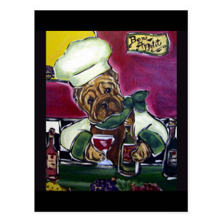 Cocinero del vino de Shar-Pei Postal