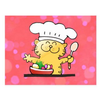 Cocinero divertido divertido del gatito del dibujo postal