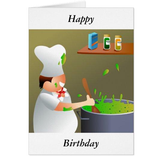 Cocinero en el trabajo, feliz, cumpleaños tarjeta de felicitación