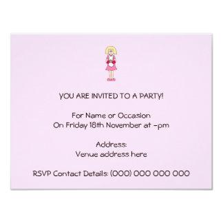 Cocinero en rosa y blanco invitación 10,8 x 13,9 cm