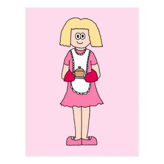 Cocinero en rosa y blanco postal