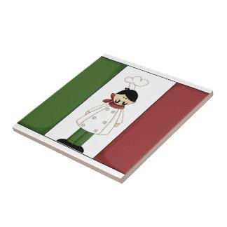 Cocinero italiano #5 con la teja de la bandera