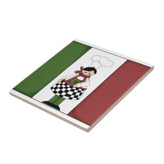 Cocinero italiano #8 con la teja de la bandera