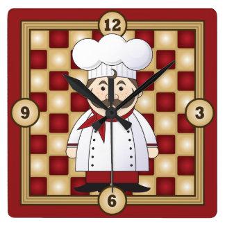 Cocinero italiano reloj cuadrado