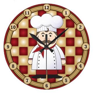 Cocinero italiano reloj redondo grande