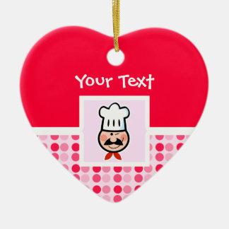 Cocinero lindo adorno de cerámica en forma de corazón