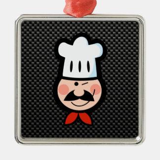 Cocinero liso adorno cuadrado plateado
