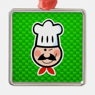 Cocinero verde adorno cuadrado plateado