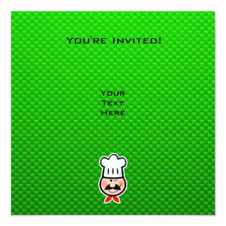 Cocinero verde invitación 13,3 cm x 13,3cm