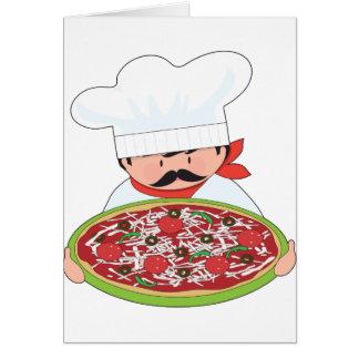 Cocinero y pizza tarjeta de felicitación