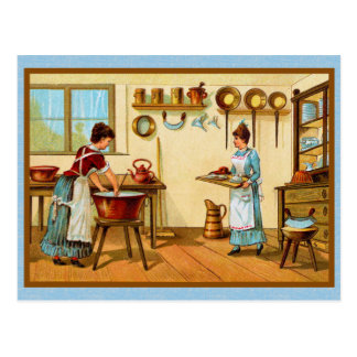Cocineros del vintage en la cocina postal