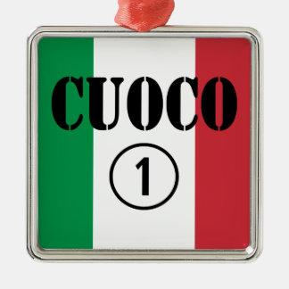 Cocineros italianos: Uno de Cuoco Numero Adorno Cuadrado Plateado