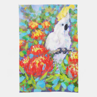 Cockatoo en la toalla de té del Protea