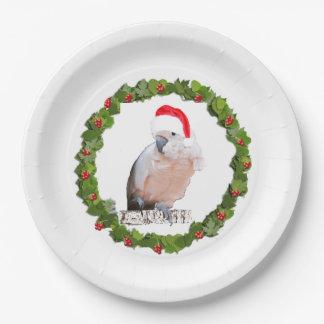 Cockatoo Santa de Muluccan Plato De Papel
