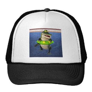 Cocodrilo del dibujo animado en el extremo profund gorra