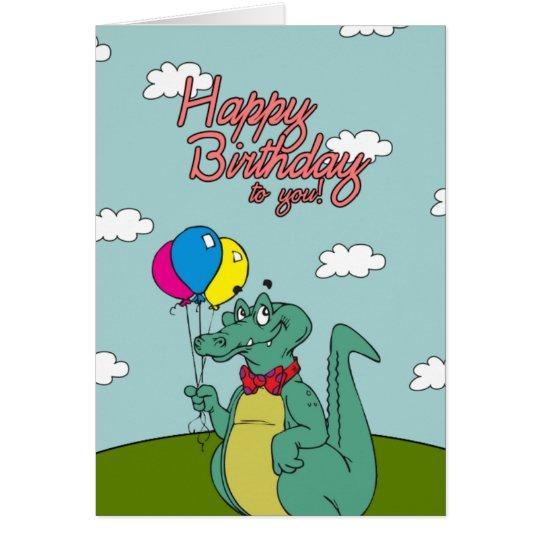 Cocodrilo del feliz cumpleaños con los globos tarjeta de felicitación