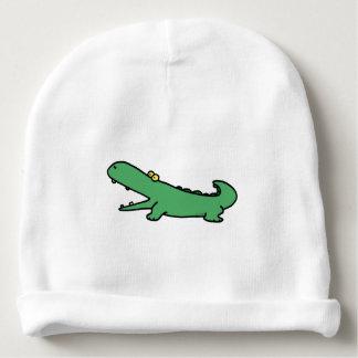 Cocodrilo divertido del verde del dibujo animado gorrito para bebe