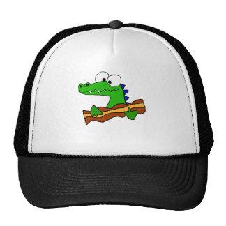 Cocodrilo divertido que come las ilustraciones del gorras de camionero