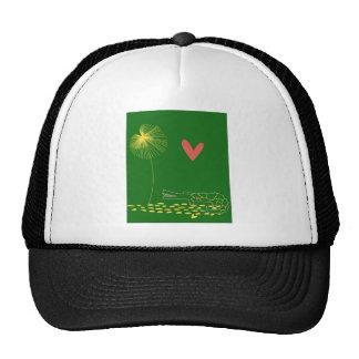 Cocodrilo minimalista con el corazón y la flor ama gorra