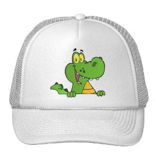Cocodrilo o cocodrilo sobre una muestra gorras