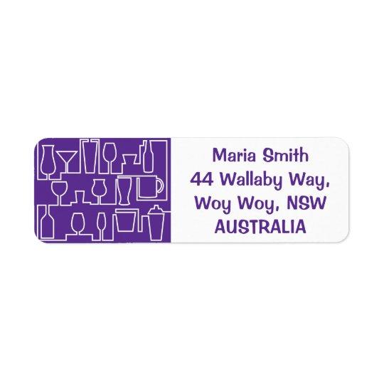 Cóctel púrpura etiqueta de remite