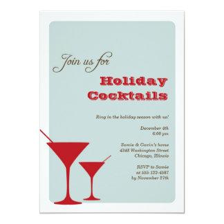 Cóctel rojo martini del día de fiesta del navidad invitación 12,7 x 17,8 cm
