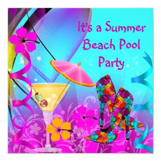Cóctel rosado de la playa del trullo del verano invitación 13,3 cm x 13,3cm