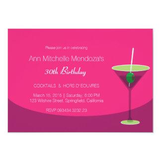 Cóctel rosado elegante femenino simple invitación 12,7 x 17,8 cm