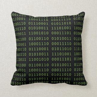 Código binario cojín decorativo