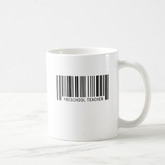 Código de barras preescolar del profesor taza de café