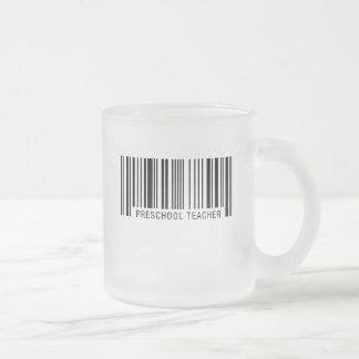 Código de barras preescolar del profesor taza de café esmerilada