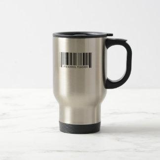 Código de barras preescolar del profesor taza de viaje